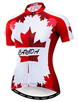 Недорогие -WEIMOSTAR Жен. С короткими рукавами Велокофты Красный Канада Флаги Велоспорт Джерси Верхняя часть Дышащий Влагоотводящие Быстровысыхающий Виды спорта Полиэстер Эластан Терилен / Слабоэластичная