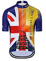 Недорогие -21Grams Животное Змея UK Муж. С короткими рукавами Велокофты - Красный + синий Велоспорт Джерси Верхняя часть Дышащий Влагоотводящие Быстровысыхающий Виды спорта Полиэстер Эластан Терилен / Флаги