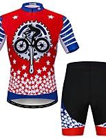 Недорогие -WEIMOSTAR Муж. С короткими рукавами Велокофты и велошорты Красный + синий Новинки Велоспорт Наборы одежды Дышащий Быстровысыхающий Виды спорта Эластан Новинки Горные велосипеды Шоссейные велосипеды