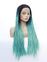 Недорогие -Синтетические кружевные передние парики переплетенный Стиль тесьма Лента спереди Парик Зеленый Черный / зеленый Искусственные волосы 8-26 дюймовый Жен. синтетический Зеленый Парик Средняя длина 130