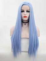 Недорогие -Парики из натуральных волос на кружевной основе Естественные прямые Стиль Средняя часть Лента спереди Парик Золотистый Небесно-голубой Искусственные волосы 26 дюймовый Жен. Женский Золотистый Парик