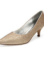 cheap -Women's Wedding Shoes High Heel Pointed Toe Wedding Party & Evening Gleit Sequin Black Champagne Ivory