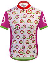 Недорогие -21Grams Цветочные ботанический Жен. С короткими рукавами Велокофты - Розовый Велоспорт Джерси Верхняя часть Дышащий Влагоотводящие Быстровысыхающий Виды спорта Терилен Горные велосипеды Одежда