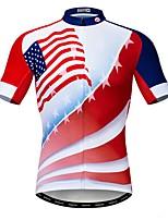 Недорогие -WEIMOSTAR Муж. С короткими рукавами Велокофты Красный Американский / США Флаги Велоспорт Джерси Верхняя часть Дышащий Влагоотводящие Быстровысыхающий Виды спорта Полиэстер Эластан Терилен / Лайкра