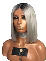 Недорогие -Парики из искусственных волос Естественные прямые Стиль Стрижка боб Без шапочки-основы Парик Темно-серый Серый Искусственные волосы 35~39 дюймовый Жен. Новое поступление Темно-серый Парик