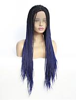 Недорогие -Синтетические кружевные передние парики переплетенный Стиль Средняя часть Лента спереди Парик Синий Черный / сапфировый синий Искусственные волосы 8-26 дюймовый Жен. синтетический Синий Парик