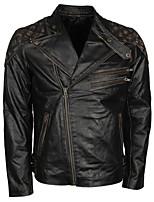 Недорогие -винтажная черная кожаная локомотивная куртка с рисунком черепа / износостойкая