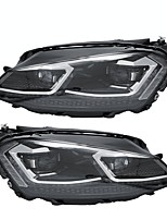 Недорогие -передние прозрачные спрятанные фары в сборе передние фары светодиодные двухцветные пары drl для vw golf 7 mk7 2015-2017
