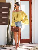 Недорогие -Жен. Блуза Элегантный стиль Однотонный Винный