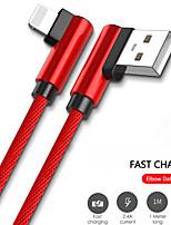 Недорогие -Подсветка Кабель 1.0m (3FT) Быстрая зарядка Нейлон Адаптер USB-кабеля Назначение iPad / iPhone