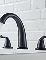 Недорогие -Ванная раковина кран - Широко распространенный Хром / Матовый никель / черный Разбросанная Две ручки три отверстияBath Taps