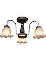 Недорогие -стеклянные люстры 3 светильника подвесной светильник американский кантри подвесные светильники круглый античный потолочный светильник полу скрытого монтажа для спальни коридора