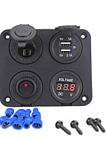 Недорогие -Автомобильное зарядное устройство dc12v 3.1a с 4 отверстиями и двумя гнездами USB вольтметр, гнездо прикуривателя