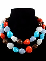 cheap -Women's Resin Layered Necklace Layered Floral / Botanicals Statement Stone Turquoise Orange Yellow Blue 45+7 cm Necklace Jewelry 1pc For Wedding Carnival