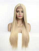 Недорогие -Синтетические кружевные передние парики Прямой Стиль Средняя часть Лента спереди Парик Блондинка Блондинка Искусственные волосы 8-26 дюймовый Жен. синтетический Блондинка Парик Средняя длина 130