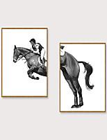 Недорогие -Отпечаток в раме Набор в раме - Люди Животные Полистирен Иллюстрации Предметы искусства