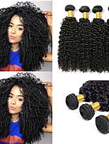 Недорогие -6 Связок Перуанские волосы Kinky Curly Необработанные натуральные волосы 100% Remy Hair Weave Bundles Человека ткет Волосы Пучок волос Накладки из натуральных волос 8-28 дюймовый Естественный цвет