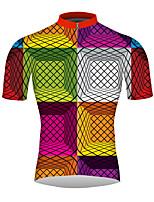 Недорогие -21Grams Клетки 3D Муж. С короткими рукавами Велокофты - Розовый Велоспорт Джерси Верхняя часть Дышащий Влагоотводящие Быстровысыхающий Виды спорта 100% полиэстер Горные велосипеды Шоссейные велосипеды