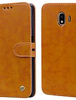 Недорогие -Кейс для Назначение SSamsung Galaxy J4 (2018) Бумажник для карт / Флип Чехол Однотонный Твердый Кожа PU