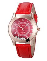 Недорогие -Нарядные часы Кожа Аналоговый Красный / Нержавеющая сталь