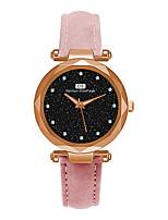 Недорогие -Жен. Нарядные часы Кварцевый Кожа Черный / Красный / Зеленый Повседневные часы Аналоговый Мода - Зеленый Синий Розовый