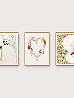 Недорогие -Отпечаток в раме Набор в раме - Абстракция Мультипликация Полистирен Иллюстрации Предметы искусства