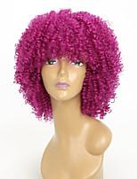 Недорогие -Парики из искусственных волос Афро Квинки Стиль С чёлкой Без шапочки-основы Парик Фиолетовый Яркий фиолетовый Искусственные волосы 15 дюймовый Жен. Для вечеринок Фиолетовый Парик Короткие