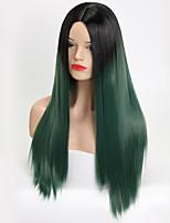 Недорогие -Парики из искусственных волос Естественный прямой Стиль С чёлкой Без шапочки-основы Парик Зеленый флуоресцентный зеленый Искусственные волосы 26 дюймовый Жен. Водопад / Волосы с окрашиванием омбре