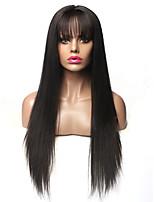 Недорогие -Парики из искусственных волос Естественный прямой Стиль Стрижка каскад Без шапочки-основы Парик Черный Черный Искусственные волосы 70~74 дюймовый Жен. Новое поступление Черный Парик Очень длинный