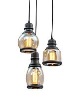 Недорогие -люстры стеклянные антикварные подвесные светильники регулируемый потолочный подвесной светильник лампы 3 лампы подвесные светильники кухня остров потолочные светильники черный