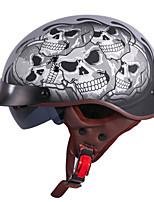 Недорогие -унисекс винтажный мотоциклетный шлем ретро скутер половина шлем со встроенным козырьком объектива