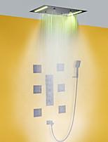 Недорогие -комплект для душа для ванной комнаты / 50x36 см светодиодная насадка для душа / с ручным душем / смеситель для ванны с горячей и холодной водой / из латуни / современный