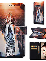 Недорогие -Кейс для Назначение SSamsung Galaxy S9 / S9 Plus / S8 Plus Кошелек / Бумажник для карт / со стендом Чехол Кот / Животное Твердый Кожа PU