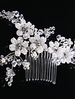 cheap -Women's Hair Combs Hair Jewelry For Wedding Wedding Geometrical Crystal Alloy Silver 1pc