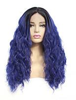 Недорогие -Синтетические кружевные передние парики Естественные волны Стиль Средняя часть Лента спереди Парик Синий Тёмно-синий Искусственные волосы 8-26 дюймовый Жен. синтетический Синий Парик Средняя длина