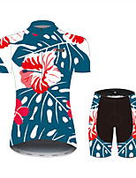 Недорогие -21Grams Цветочные ботанический Гавайи Жен. С короткими рукавами Велокофты и велошорты - Красный + синий Велоспорт Наборы одежды Дышащий Влагоотводящие Быстровысыхающий Виды спорта 100% полиэстер