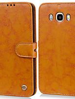 Недорогие -Кейс для Назначение SSamsung Galaxy J5 (2016) Бумажник для карт / Флип Чехол Однотонный Твердый Кожа PU