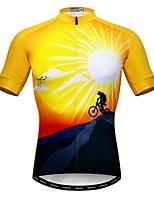 Недорогие -WEIMOSTAR Муж. С короткими рукавами Велокофты Желтый Велоспорт Спортивный костюм Джерси Верхняя часть Дышащий Виды спорта Полиэстер Эластан Терилен Горные велосипеды Шоссейные велосипеды Одежда