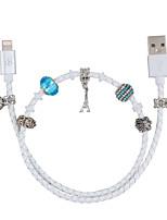 Недорогие -df mfi кабель молнии micro usb / кабель молнии 0,5 м (1,5 фута) оплетенный кабель из искусственной кожи кабель для передачи данных кабель для быстрой зарядки для iphone / ipad / ipod