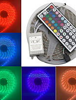 Недорогие -светодиодные 12v smd 5050 rgb светодиодные ленты с дистанционным управлением светодиодные ленты разноцветные 300 светодиодов водонепроницаемые световые полосы изменяющие цвет пакет 5 м полосы