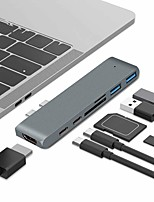 Недорогие -usb адаптер c концентратором для MacBook Pro / Air 2018 2017 г. 2016 Thunderbolt 3 типа c концентратором с 40 Гбит / с 5k при 60 Гц 100 Вт с питанием 2 USB 3.0 Micro SD / SD картридер
