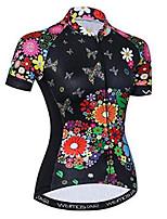 Недорогие -21Grams Цветочные ботанический Жен. С короткими рукавами Велокофты - Черный Велоспорт Джерси Верхняя часть Дышащий Влагоотводящие Быстровысыхающий Виды спорта Полиэстер Эластан Терилен