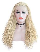 Недорогие -Парики из натуральных волос на кружевной основе / Синтетические кружевные передние парики Кудрявое плетение / переплетенный Стиль Средняя часть Лента спереди Парик Золотистый Светло-золотой
