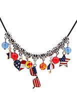 Недорогие -Жен. Ожерелья с подвесками американский флаг Винтаж Хром Темно-синий 45 cm Ожерелье Бижутерия 1шт Назначение Свадьба Подарок фестиваль