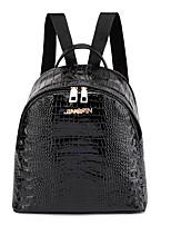 Недорогие -Большая вместимость PU Молнии / Несколько слоев рюкзак Повседневные Черный / Коричневый / Темно-коричневый