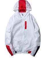 Недорогие -Муж. Повседневные Обычная Куртка, Однотонный Капюшон Длинный рукав Полиэстер Белый / Черный / Серый