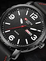 Недорогие -Муж. Нарядные часы Кварцевый Стильные Кожа Черный 30 m Защита от влаги Календарь Фосфоресцирующий Аналого-цифровые Мода - Черный Желтый Два года Срок службы батареи
