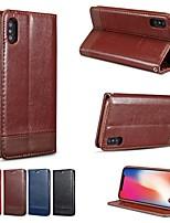 Недорогие -Кейс для Назначение Apple iPhone XS / iPhone XR / iPhone XS Max Кошелек / Бумажник для карт / со стендом Чехол Однотонный Твердый Кожа PU