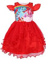 Недорогие -Дети Дети (1-4 лет) Девочки Активный Уличный стиль Мультипликация Кружева С короткими рукавами До колена Платье Красный