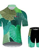 Недорогие -21Grams Цветочные ботанический Гавайи Муж. С короткими рукавами Велокофты и велошорты - Зеленый Велоспорт Наборы одежды Дышащий Влагоотводящие Быстровысыхающий Виды спорта 100% полиэстер